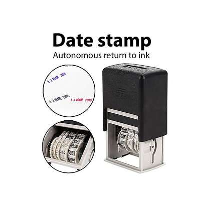 Stamping Mud Set DIY Handle Account Convenient English Metal + ABS DIY Home Date Stamps Roller Date Stamp Office Supplies image 2