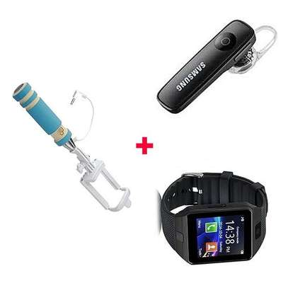 Bundle Of DZ-09 Smart Watch Phone With Free Bluetooth headset and selfie stick - Black image 1