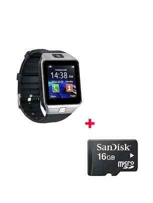 Watch phone DZ09 Smart Watch Phone for Android and Apple with Free 16gb Memory card- Black image 1