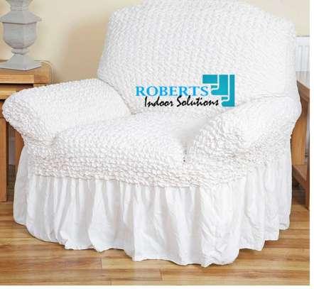 Cream white elastic sofa cover 7 sitter image 2