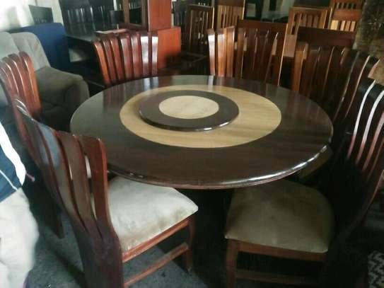 6-seater peacock round dining table with revolver image 2