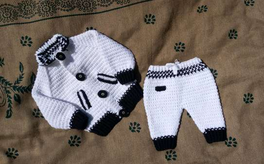 Crocheted baby suit