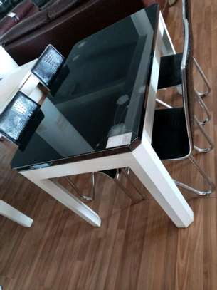 Black and white 4 seater dining table image 1