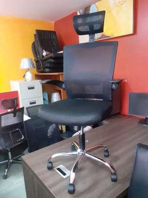 Executive Orthopedic Mesh Chairs With Tilt Mechanism, Adjustable Headrest & Foldable Arms image 2