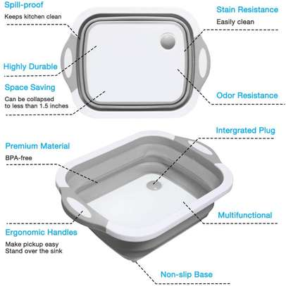 Multifunction 3 in 1 Folding Cutting Board with Strainer Foldable Chopping Board image 3