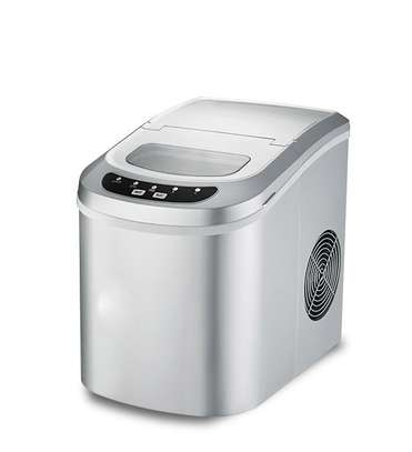 Stainless Steel Portable Compact Electric Ice Maker for Homes,Silver image 1
