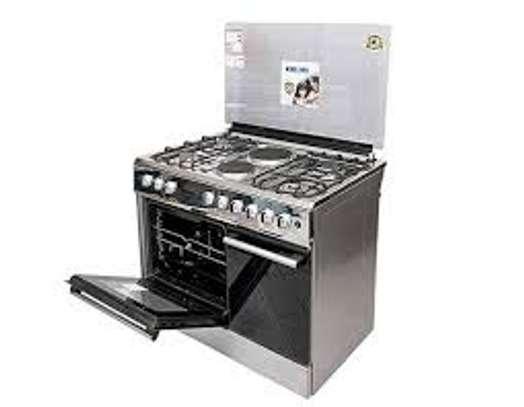 Bruhm 6 burner 4Gas + 2hot plate – Gas Cooker – Silver  90cm x 60cm image 1