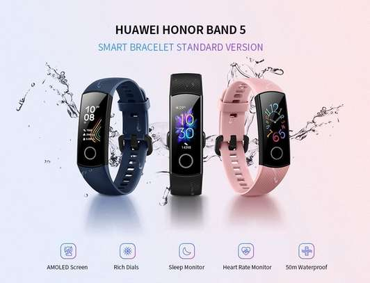 Huawei Honor Band 5 Smartband AMOLED Full Color Screen Bracelet Heart Rate Monitor Blood Oxygen Monitor Fitness Tracker Sleep Monitor GPS Sport 5ATM Waterproof Smart Band