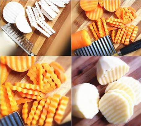 Stainless Steel Vegetable Potato Crinkle Wavy Knife Cutter image 3