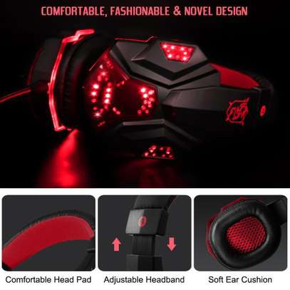Plextone Gaming Headset for PS4 X Box PC GAMING  Noise Isolation Gaming Headphones  With hd mic and led - Black and red) image 3