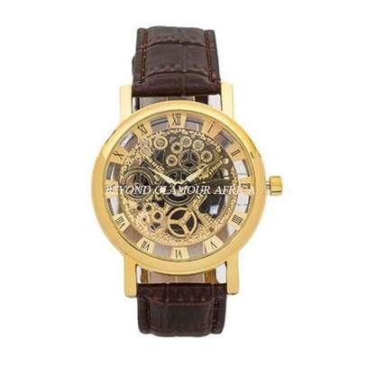 Maroon Skeleton watch