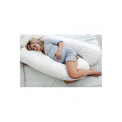 Superior Maternity Back & Belly Contoured Body Pillow with Washable Cover- White image 1