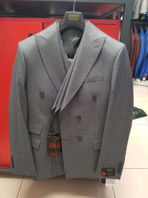Ash grey checked double-breasted make suit 100% wool. image 4