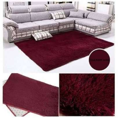 Maroon Soft Fluffy Carpet 5*8 image 2