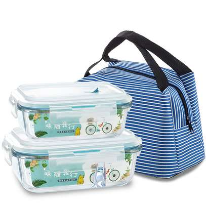 2 Compartment Microwave Glass food container set with Insulated lunch bag image 1