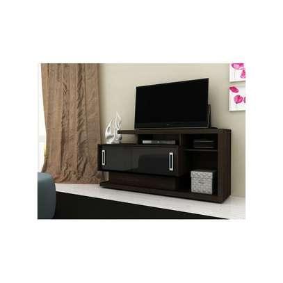 Tecno Mobili TV Stand Rack For 50' TV - Dark Brown/ GLOSS BLACK DOORS image 2