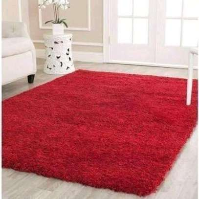 Red fluffy carpet size:5by8 image 1