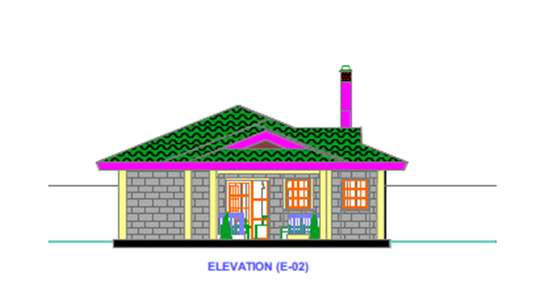 3 bedroomed house plan, elevation and section