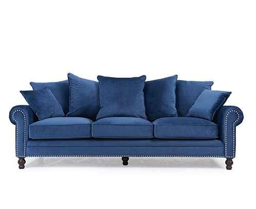 1823 Blue Velvet 3 Seater Sofa image 1