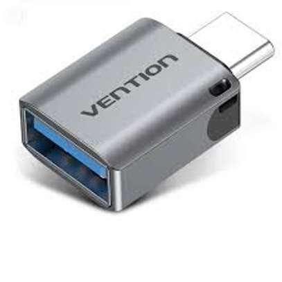 VENTION TYPE-C MALE TO USB 3.0 FEMALE OTG ADAPTER GRAY ALUMINUM ALLOY TYPE image 1