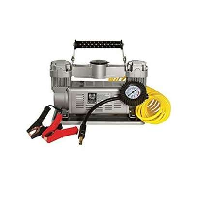 Heavy duty Portable Twin Cylinder Tire Compressor. Tire Inflator - Black and Silver image 3