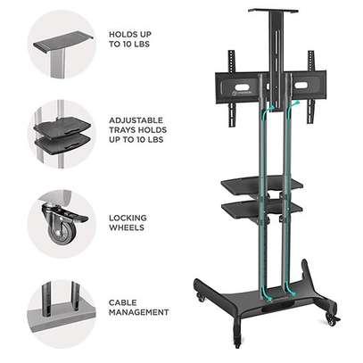 """ONKRON Mobile TV Stand TV Cart with Wheels & 2 AV Shelves for 32"""" – 65 TS1552 image 6"""