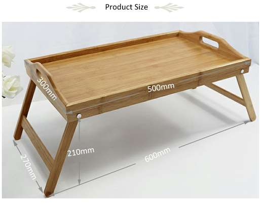 Foldable Portable Breakfast Bamboo Tray Table with Stand image 2
