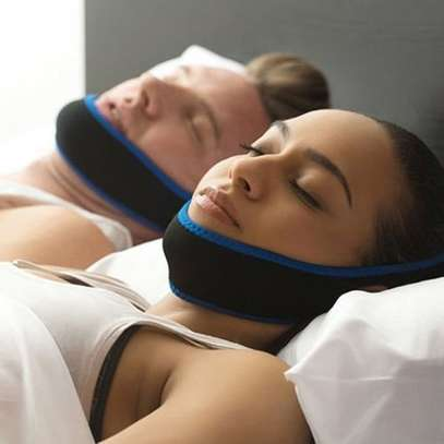 Anti Snore Chin Strap Care Sleep Stop Snoring Belt Chin Jaw Supporter Apnea Belt  - Blue image 2