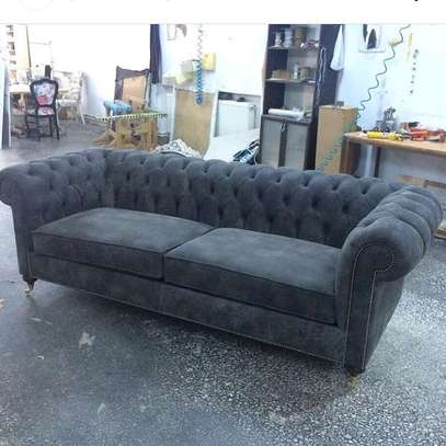 GREY 3 SEATER CHESTERFIELD SOFA image 1