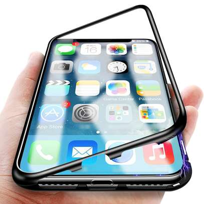 Magnetic Adsorption Case For iPhone X XS- Clear Glass Back image 7