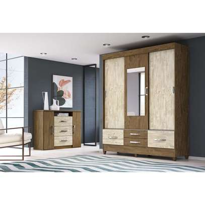 Wardrobe with 3 Sliding Doors & 4 Shelves - Moval - Vegas Brown - Hazelnut image 2