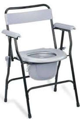 Folding Steel Commode Chair With Backrest image 1