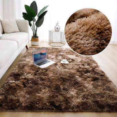 Brown patched Anti skid fluffy carpet 7*8 image 1