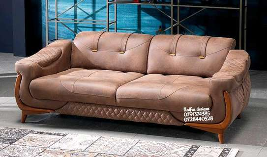 Three seater sofa/brown sofa image 1