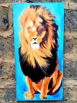Art lion acrylic painting image 2
