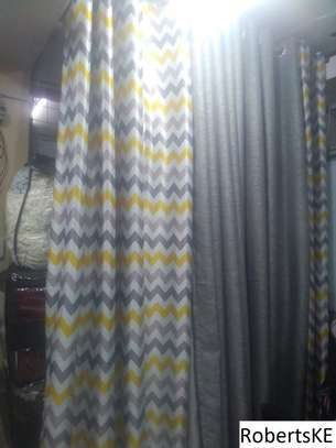 Elegant patterned curtain with grey linen curtain image 1