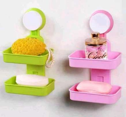 Double Layer Soap Box with Suction Cup Holder image 1