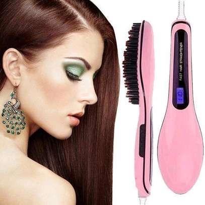 Professional Hair Straightener Comb Brush LCD Display - Pink image 1