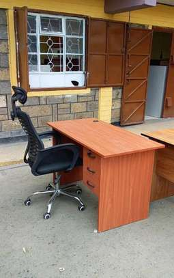 Sit to stand computer PC desk with a high back office chair with headrest adjustable image 1