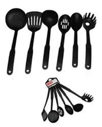 Pack of 6 - Non-Stick Cooking Spoon Set - Black