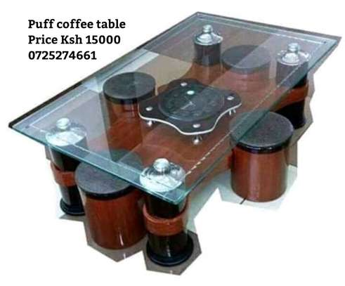 Puff coffee table with 4 stools image 1