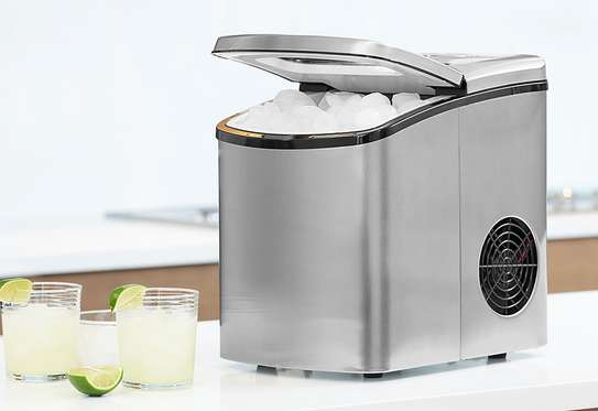 Portable Electric Ice Maker Machine Capacity Clear Lip Top Countertop up to 26lbs per Top Load (2) Cube Sizes, Silver image 1