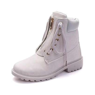 Ladies zip up ankle leather boots image 5