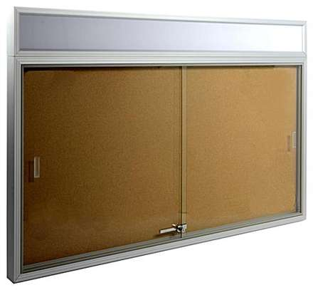 GLASS SLIDING NOTICE BOARD 4X2ft image 1