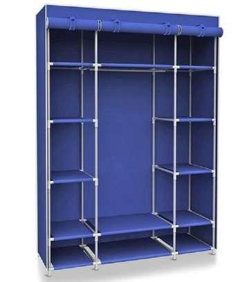 BLUE WOODEN PORTABLE WARDROBE image 1
