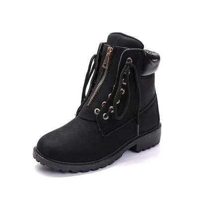 Ladies zip up ankle leather boots image 3