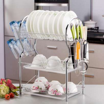 Stainless Steel 3 Layer Dish Drainer Rack Silver