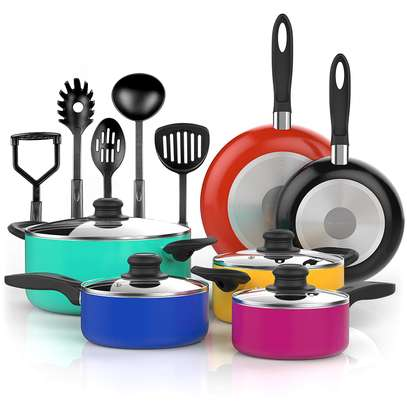 15 Piece Nonstick Cookware Set. Durable Aluminum Pots and Pans with Cooking Utensils. Colorful Oven Safe and Multi Quart Enameled Saucepans, Dutch Ovens and Fry Pans with Glass Lid image 1