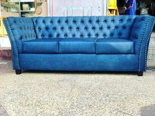 three seater leather chesterfield sofa image 1