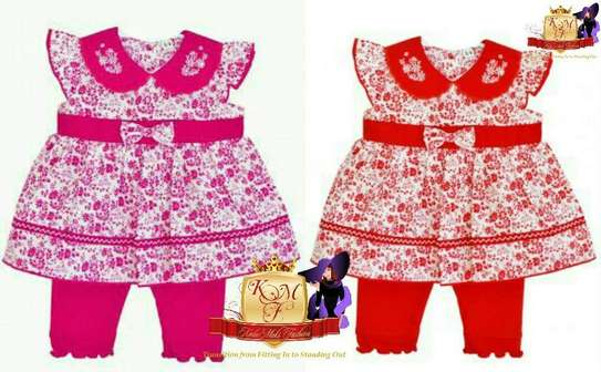 Baby Girls Red Floral 2 Piece Outfit Made in UK